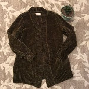 LOFT luxe chenille hip length cardigan sweater M